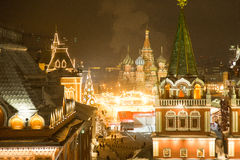 Beautiful view of the Moscow ice rink and red square Royalty Free Stock Images