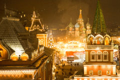 Beautiful view of the Moscow ice rink and red square Stock Image