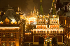 Beautiful view of the Moscow ice rink and red square Stock Photo