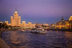 Beautiful view of the Moskva River with a pleasure boat at suns Stock Photography