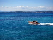 Beautiful view of the motorboat in the Mediterranean stock images