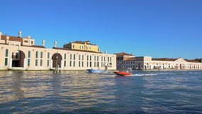 Beautiful view on motorboats floating on Grand Canal in Venice from vaporetto. Stock footage stock footage