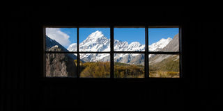 Beautiful view of Mount Cook National Park, South Island, New Zealand when see though window Stock Photography