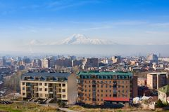 Beautiful view of Mountain Ararat and city Yerevan in spring, Armenia. Beautiful view of Mountain Ararat and city Yerevan in spring Stock Photos