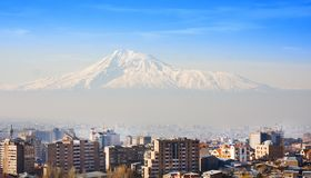 Beautiful view of Mountain Ararat and city Yerevan in spring, Armenia. Beautiful view of Mountain Ararat and city Yerevan in spring Stock Images