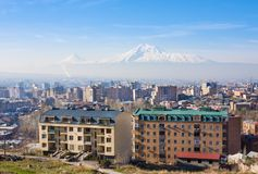 Beautiful view of Mountain Ararat and city Yerevan in spring, Armenia. Beautiful view of Mountain Ararat and city Yerevan in spring Royalty Free Stock Photography