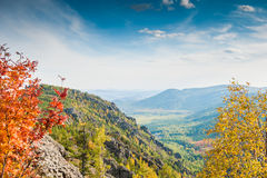 Beautiful view of the mountain gorge. Autumn landscape Stock Photos