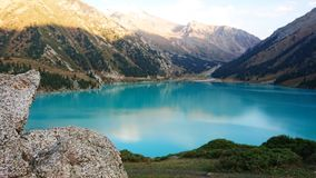 Beautiful view of the mountain lake of heavenly color. stock photography