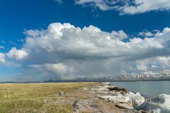 Beautiful view of the mountain lake. Son Kul with delightful clouds and blue sky Royalty Free Stock Photos