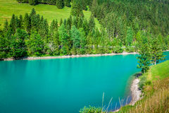 Beautiful view mountain lake. Steg,Malbun in Lichtenstein, Europ Royalty Free Stock Photography