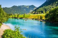 Beautiful view mountain lake. Steg,Malbun in Lichtenstein, Europ Stock Photos