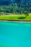 Beautiful view mountain lake. Steg,Malbun in Lichtenstein, Europ Stock Photo