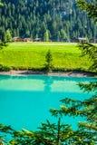 Beautiful view mountain lake. Steg,Malbun in Lichtenstein, Europ Royalty Free Stock Photo