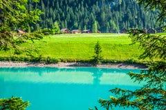 Beautiful view mountain lake. Steg,Malbun in Lichtenstein, Europ Royalty Free Stock Photos
