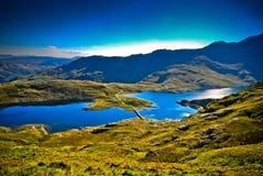 Beautiful view of mountain range with blue lake Stock Photos