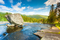 Beautiful view of mountain river in summer Royalty Free Stock Photography