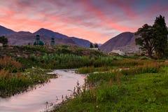 Beautiful view of a mountain river at sunset.  Stock Photos