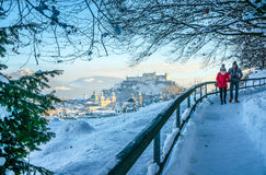Beautiful view from mountain of Salzburg skyline in winter, Austria Royalty Free Stock Image