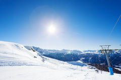 Beautiful view of mountain ski resort at sunny day Stock Image