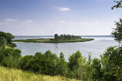 Beautiful view from the mountain to the river with the island Stock Photo
