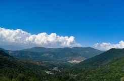 Beautiful view of mountain valley with cloudy sky in Kashmir India royalty free stock photos