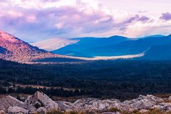 Beautiful view of the mountain valley. And hills royalty free stock images