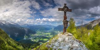 Jenner mountain near Konigssee lake, Berchtesgaden. Beautiful view of the mountain valley near Jenner mount and Konigssee lake in Berchtesgaden National Park Stock Image