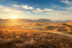 Beautiful view at the mountain valley at sunset in summer Stock Photography
