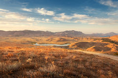 Beautiful view at the mountain valley at sunset in summer Royalty Free Stock Image