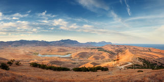 Beautiful view at the mountain valley at sunset in summer Royalty Free Stock Images
