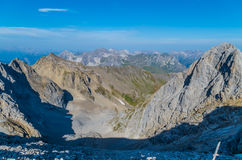 Beautiful view from the mountain Valluga, Lechtal alps, Austria Royalty Free Stock Photography