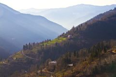 View of mountain village in Georgia Stock Images