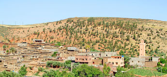 Beautiful view of mountains. (Atlas mountains, Morocco) and a village Royalty Free Stock Photo