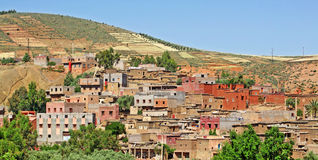 Beautiful view of mountains. (Atlas mountains, Morocco) and a village Stock Photo
