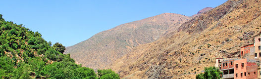 Beautiful view of mountains. (Atlas mountains, Morocco) and a village Royalty Free Stock Photography