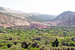 Beautiful view of mountains. (Atlas mountains, Morocco) and a village Stock Images