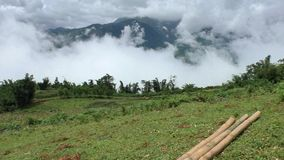 Beautiful view of mountains in clouds in highlands. Of Vietnam, Sapa stock footage