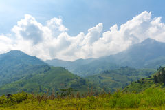 Beautiful View of mountains contain terraced fields Royalty Free Stock Images