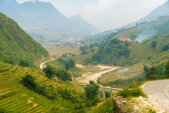 Beautiful View of mountains contain terraced fields Royalty Free Stock Image