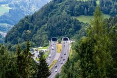 Beautiful view of mountains and entrance to autobahn tunnel. Near village of Werfen, Austria stock photos