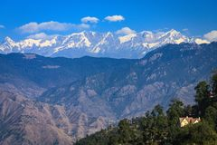 View of Himalayas from Mussoorie. Beautiful view of mountains and Himalayan snow peaks from Mussoorie on a pleasant winter day Stock Photos