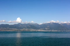 Beautiful view on mountains and lake in Evian, France Royalty Free Stock Image