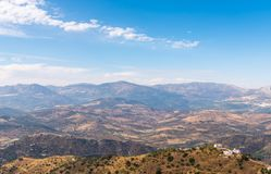 Beautiful view of the mountains in the region of Andalusia, houses and farmland on the slopes of mountains. Nature royalty free stock photo