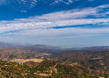 Beautiful view of the mountains in the region of Andalusia, houses and farmland on the slopes of mountains. Nature royalty free stock photography