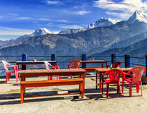 Beautiful view of the mountains from the restaurant terrace Royalty Free Stock Photography