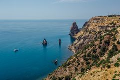 Beautiful view of the mountains and rocky coast of the azure Black sea, Cape Fiolent, Crimea Stock Images