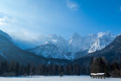 Beautiful view on the mountains from the valley. Slovenia. stock photo