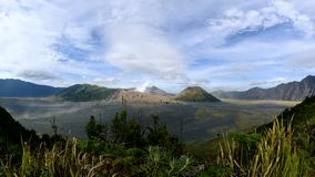 Beautiful view of Mt Bromo and sandstorm in the morning, Indonesia stock video footage