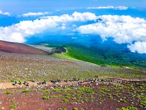 Beautiful view of Mt Fuji with blue clouds sky stock images