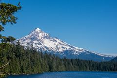 Beautiful view of Mt. Hood from Lost Lake Oregon on a sunny day royalty free stock photos